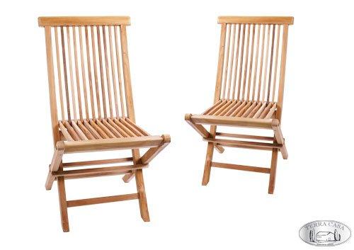 Java Teak-klappstuhl (Gartenstuhl 2er Set MANADO Teak Holz Gartenmöbel Stühle Klappstuhl Stuhl Premiumqualität)