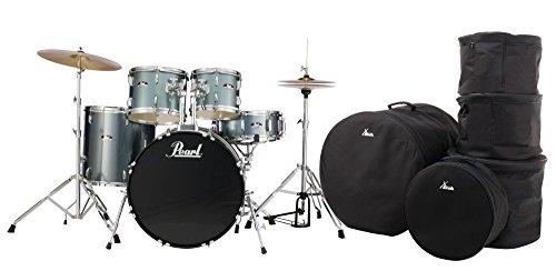 Pearl RS505C/C706 Roadshow Drumset Charcoal Metallic Set (komplettes Schlagzeug mit Hardware, Hocker, Becken und Sticks, inkl. Gigbags) grau