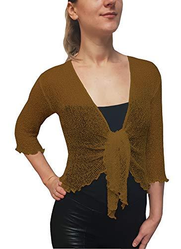 Mimosa Damen Crochet Strecken Fisch-Netz Boleroshrug Mutterschaft Krawatte an der Taille Cardigan (Eine Größe passt DE 34-48, Rust) - Damen Fischnetz