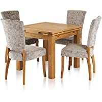 2685478da5ff Oak Furniture Land Dorset Dining Set - 3ft Extendable Table with 4 Plain  Truffle Upholstered Curve