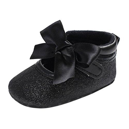 cinnamou Prinzessin Ballett Schuhe Baby-beiläufige einzelne Schuhe Soft Sole Krippe Schuhe - Anti-Rutsch-Wanderer Prewalker für Baby Mädchen Jungen 0-6 Monat 6-12 Monat 12-18 Monat (6~12 Monate, Schwarz) (Wildleder Boys Turnschuhe)