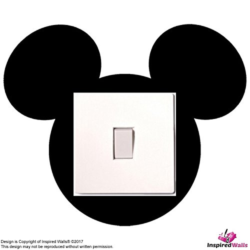 Mickey Mouse Light Switch Schwarz Sticker for Fun Adhesive Vinyl Aufkleber by Inspired Walls® Schwarz Mickey-mouse-vinyl-aufkleber