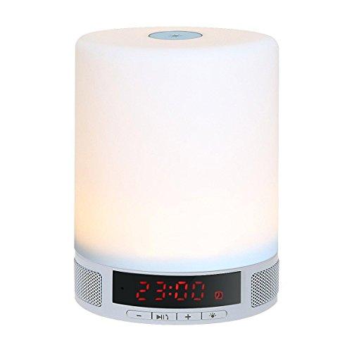 KOBWA Lámpara LED Altavoz Bluetooth,3 en 1 Portátil Inalámbrico Bluetooth 4.0 Altavoz con Regulable Multicolores Control Táctil Lámpara de Mesa Luz de Noche,despertador,Manos Libres Conmicrófono,Compatible con IPhone, IPad, Android Teléfonos,soporte de Tarjeta TF