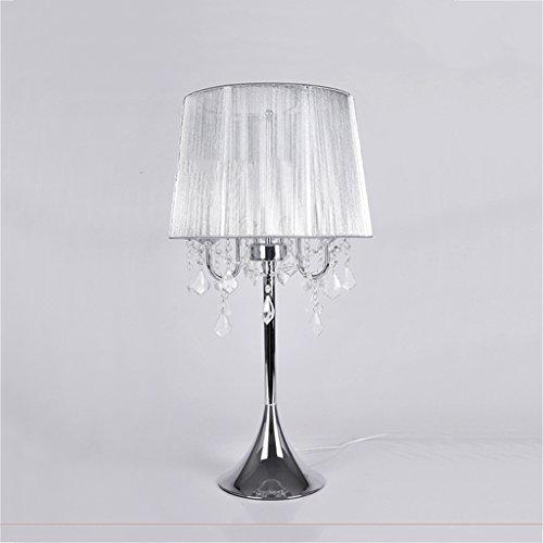 personnalité simple Style Européen Lampe De Table En Cristal Style Américain Rurale Fer Chambre De Rétro Lampe De Chevet Salon De Cabinet De Chevet (Couleur : Beige)