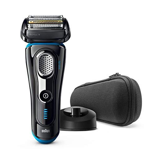 Braun Series 9 9240 s - Afeitadora eléctrica para hombre de lámina, en húmedo y seco, máquina de afeitar barba con base cargadora, negro/azul, sólo recargable, inalámbrico