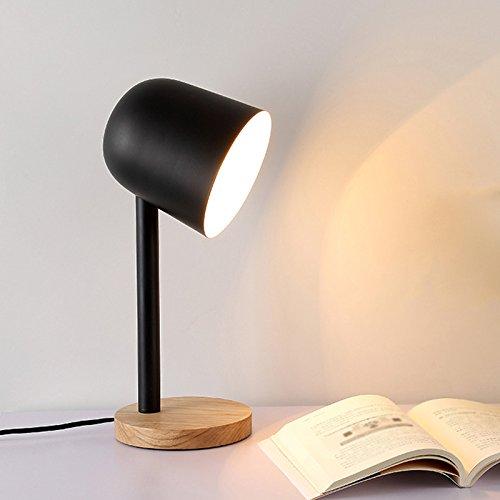 uus Tischlampe Metall Eiche Nachttischlampe, schlichtes Design, weiche Beleuchtung für die Schlafzimmer Dekoration, warme und komfortable Atmosphäre, Metall-Schwarz-Schattierung, warmes Licht, 41 cm hoch (Energieklasse A +) ( Farbe : Schwarz )