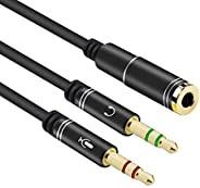 300mm Compact Size Flexible 3.5mm Stereo Audio 1 Female to 2 Male Headset Mic Y Splitter Cable Headphone to PC