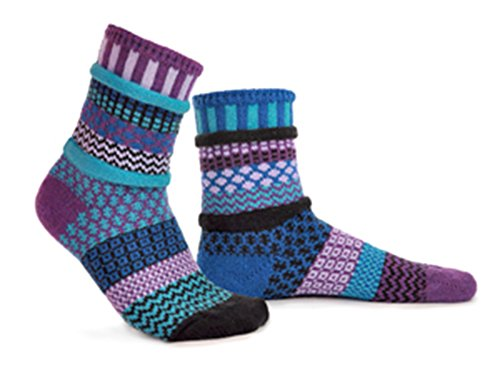 Solmate Socks - Raspberry - Odd Mismatched Crew Socks for Women for Men, Made with Recycled Cotton Yarns in USA