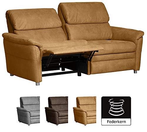 Cavadore 3-Sitzer Sofa Chalsay inkl. Relaxfunktion / mit Federkern / moderne Couch / Größe: 179 x 94 x 92 cm (BxHxT) / Farbe: Hellbraun (mustard)