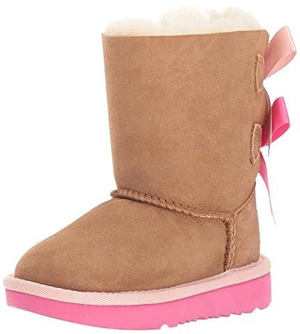 UGG Toddler Chestnut Marron / Rose Azalea Bailey Bow II Bottes-UK 10 Enfants