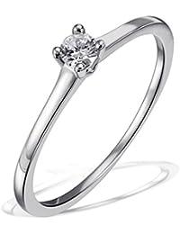 Goldmaid Damen-Ring Trauring, Freundschaftsring, Verlobung 925 Sterlingsilber 1 Brillant SI/H 0,10 ct.