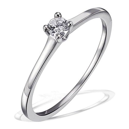 Goldmaid Damen-Ring Solitär Verlobungsring 925 Silber rhodiniert Diamant (0.1 ct) Brillantschliff weiß Gr. 54 (17.2) größenverstellbar Ehering Trauring  Diamantring (Diamant-ringe Weißen Silber)