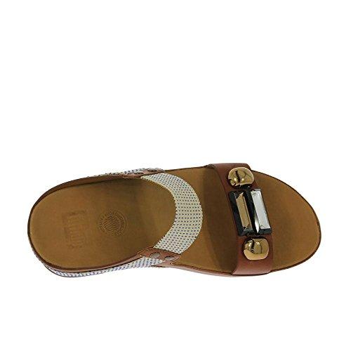 Fitflop Sandales Jeweley Slide Dark Tan Dark Tan
