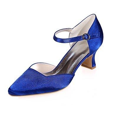 Wuyulunbi @ Chaussures Femme Satin Printemps Été Pompe Base Serrure De Mariage Carré Orteils Talon Chaussures Pour La Fête De Mariage Et Le Soir Un Rose Bleu Violet Argent Bleu