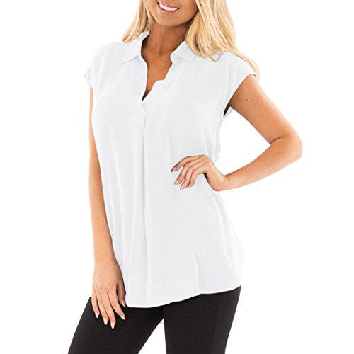Bluse Damen Sunnyadrain T Shirt Damen Plus Größe Beiläufiges ärmelloses V Ausschnitt Plissee Gekräuselte Lose Chiffon Tank Top
