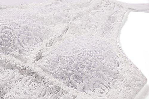 BellisMira Damen Spitze gepolstert/ungepolstert BH Top Träger Floral Longline Triangle Cup Criss Cross Bralette Gr. Large, White-bel0006 - 5