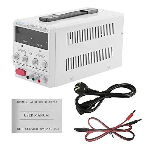 Adjustable 30V-10A DC Power Supply High Precision LED Digital Display Metal Power Supply Variable Digital Lab Tools(white)