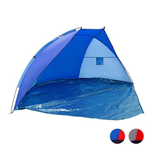 Relaxdays Strandmuschel verschließbar, HxBxT: 120 x 270 x 120 cm, mit Tasche, UV-Schutz 80, Strandzelt, dunkelblau-blau