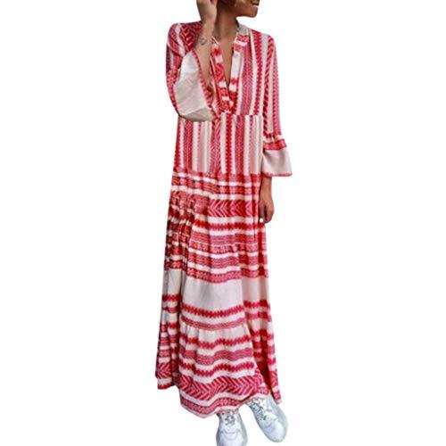 LUGOW Maxikleid Strandkleid Damen Sommerkleider Günstig Bohemian Lange Ärmel FreizeitKleider PartyBallkleid Abendkleider BlusenkleidCocktailkleider LangKleider(Medium,Rot)