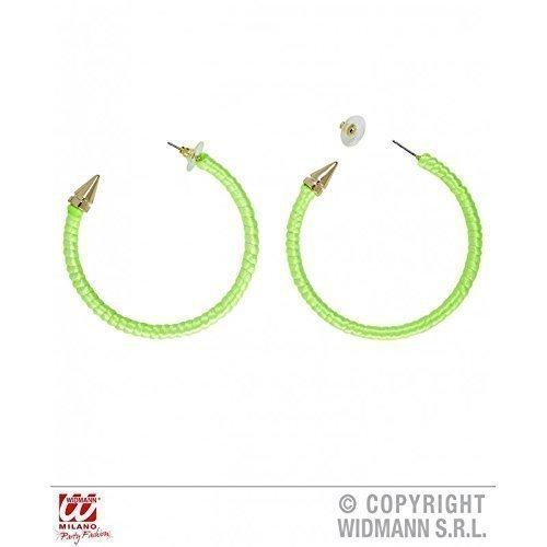 Ohrringe / Kreolen in grellem Grün für 80er oder Discokostüm / Zubehör / St. Patricks (Jahre 80er Kostüm Metall)