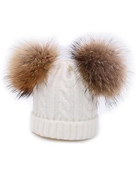 BeFur Kinder Winter Zopfmuster Bommelmütze Hut Beanie Cap mit zwei Bommel