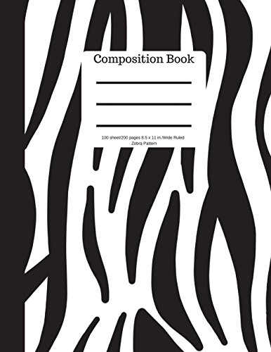 Composition Book 100 sheet/200 pages 8.5 x 11 in.-Wide Ruled- Zebra Pattern por Goddess Book Press