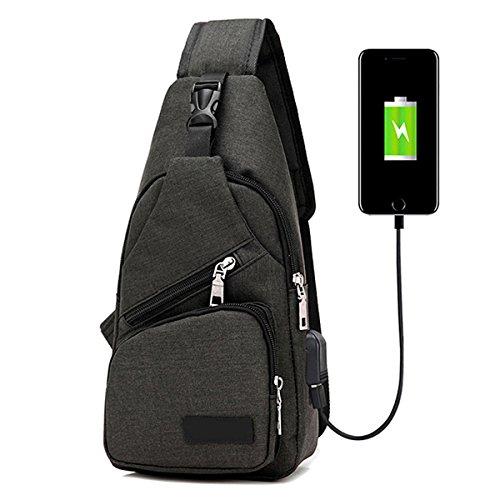 Schultertasche, Tezoo Herren Damen Umhängetasche Klein Brusttasche aus Segeltuch mit USB-Batterieladung-Anschluss Unisex Basics Outdoor Multifunktion Schulterbeutel Schwarz