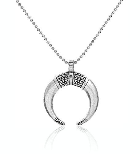 2LIVEfor Halskette Damen silber Kette mit Anhänger Antik Viktorianisch Halbmond Horn mit Zeichen...
