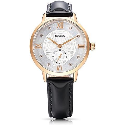 Time100 W80099G.01A Reloj cuarzo para mujer de número romano con diamante de color negro con
