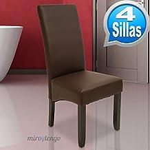 Pack de 4 sillas Osaka color wengué de salón comedor de polipiel marrón y acolchadas. Nuevo modelo, modernas, alta calidad y económicas. Altura 108cm / Asiento 49x49cm