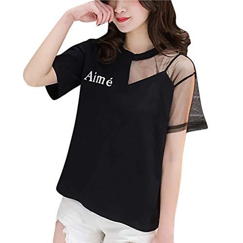 Damen Sexy Mesh Sheer Lace Spleißen Kurzarm Brief gedruckt Rundhals Bluse Leichte Shirt Tops -
