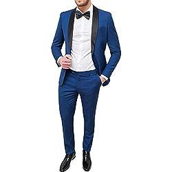 Abito uomo sartoriale blu chiaro slim fit vestito smoking elegante cerimonia (50)