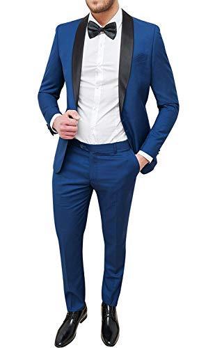 Abito uomo sartoriale blu chiaro slim fit vestito smoking elegante cerimonia (46)