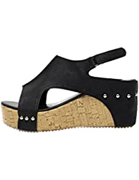 Wawer Frauen Sommer Runde Zehe Atmungs Rivet Strand Sandalen Boho Casual Keile Schuhe