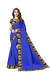 Bhuwal Fashion Womans CHANDERI silk saree with Blouse (BLUE)