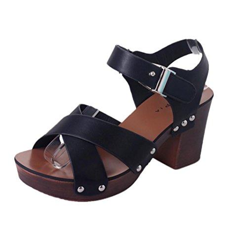 Fulltime®Women Sandals Pumps Chaussures à talons hauts Noir