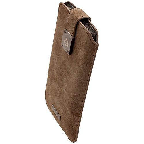 Commander Premium Tasche Milano XXL5.2 - Nubuk Gray Lizenzprodukt + Reinigungstuch iMoBi (Active S5 Für Galaxy Skin)