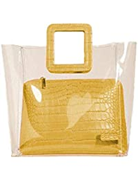 JIMPLEI Women's 2 In 1 Transparent Tote Handbag with Square Handle (Mustered Yellow)