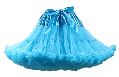 Honeystore Tanzkleid Ballettrock Kinder Mädchen Damen Tutu Rock Schleife Pettiskirt für Show Party Cosplay Blau One (Kostüm Kinder Ideen Rockstar)