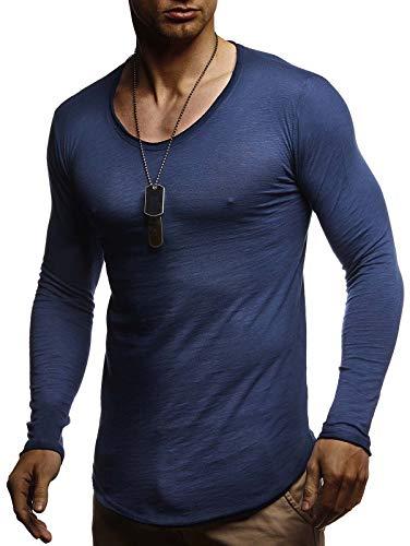 LEIF NELSON Herren Langarmshirt tiefer Rundhals-Ausschnitt | Männer Longsleeve Sweater | dünner Pulli Sweatshirt Pullover Crew Neck | Jungen T-Shirt Langarm Oversize | LN1-80107 Blau X-Large - Fashion Long Sleeve Crew Neck