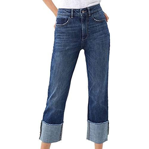 Epigeon Frauen Gerollte Trim Denim-Hosen Hohe Taille Stretch Gerade Jeans Kordelzug Elastische Hose Damenmode Neun Hosen Trim Jeans Hose