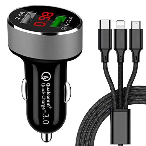 GreatCool Quick Charge 3.0 Caricabatteria per auto, Caricatore veloce, Adattatore per caricatore da auto doppio USB Con Visualizzazione Della Tensione Amperometro per Samsung iPhone Smartpho
