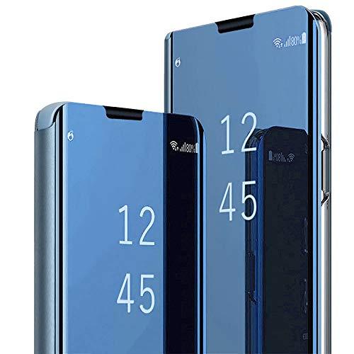 Case Compatible with Samsung Galaxy S10 Plus Schutzhülle Flip Spiegel Handyhülle Ultradünn PU Handy Schutz Löschen Clear View für Samsung Galaxy S10/Galaxy S10e (Samsung Galaxy S10, Blau) Flip Cover-deckel