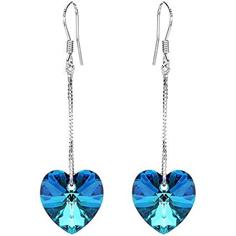 EleQueen argento 925 di amore del cuore lunga catena gancio francese ciondola gli orecchini Bermuda blu decorata con cristalli Swarovski®