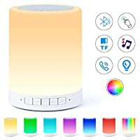 Bluetooth Speaker Lamp, Smart Touch Night Light with Bluetooth Music Speaker, Dimmable Color Changing RGB Bedside Lamp for Bedroom, Portable Speakers with Mood Light, Best Gifts for Baby, Kids,Party
