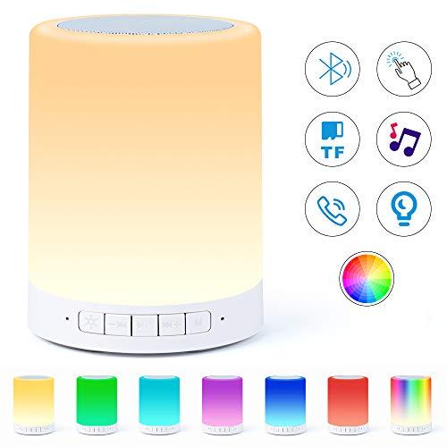 Lampe Haut-parleur Bluetooth, Veilleuse Smart Touch avec Musique Bluetooth, Lampe de Chevet RVB à Couleur Changeante Pour Chambre à Coucher, Haut-parleurs Portables avec Lumière d'ambianc