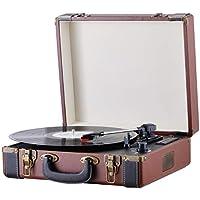 Plattenspieler   Schallplattenspieler   Turntable   Holz Nostalgie AUX IN   Plattenspieler mit Koffer   Vinyl Player   USB SD CARD   Aufnahme Funktion