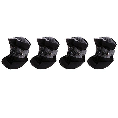 Yoli Stiefel/Schuhe für Hunde und Katzen, wasserdicht, Regenstiefel mit rutschfester Sohle, Pfotenschutz, 4 Stück