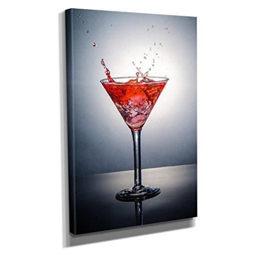 Cocktail Splash - Kunstdruck auf Leinwand (30x45 cm) zum Verschönern Ihrer Wohnung. Verschiedene Formate auf Echtholzrahmen. Höchste Qualität.