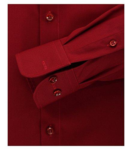 CASAMODA Herren Slim Fit Business Hemd 006550 Weinrot